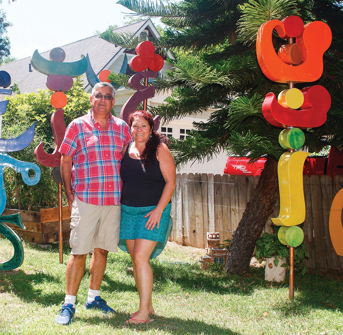 YARD SCULPTURES—The works of husband and wife Ali and Esther Alinejad decorate several front yards on Paige Lane in Thousand Oaks. Photos by RICHARD GILLARD/Acorn Newspapers