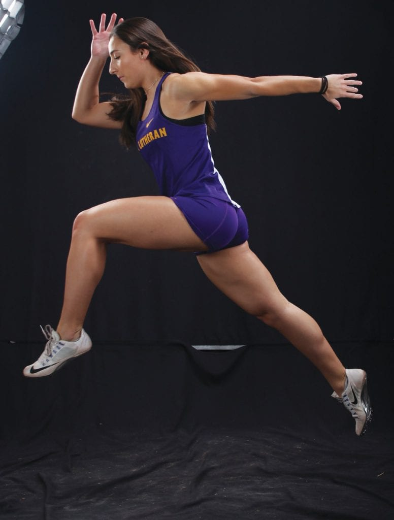 SUBSTANCE AND STYLE—Kendall Guidetti, a Cal Lutheran women's track and field star who attended Oak Park High, placed 10th in the long jump finals at the NCAA Division III championships in Ohio. Courtesy of Cal Lutheran Athletics
